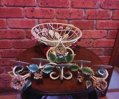 #eBay MARKET# 2 HEAVY Wrought METAL Items:PEDESTAL BOWL & 5 GARLAND CANDELABRA