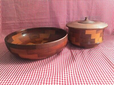 Vintage Retro Mid Century Wooden Bowls Mixed Wood Chequered Pattern One With Lid