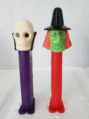 2 Vintage PEZ  SKULL  WITCH Halloween Candy Dispensers 1970's Slovenia