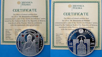 Belarus 10 R 2008 Argento Proof Silver Rare With 4 Synthetic Crystals St.eufrasi