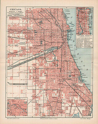 Antique map. NORTH AMERICA. CITY PLAN OF CHICAGO. 1905