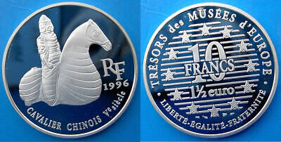France 10 F 1996 Argento Proof Silver Arte Cavalier Chinois V Siecle Warrior