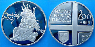 Hungary 200 F 1976 Argento Proof Silver Mihaly Munkacsy Painter Artista Pittore