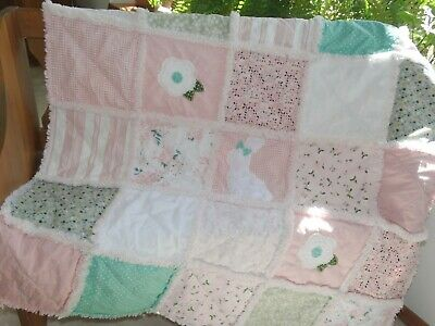 "Rag Quilt, Baby Girl Rag Quilt, ""SOMEBUNNY LOVES YOU"" Bunny Rag Quilt,"