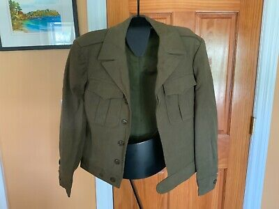 Vintage WW2 US Army Olive Drab Wool Field Jacket Dated April 1945 Size 34R
