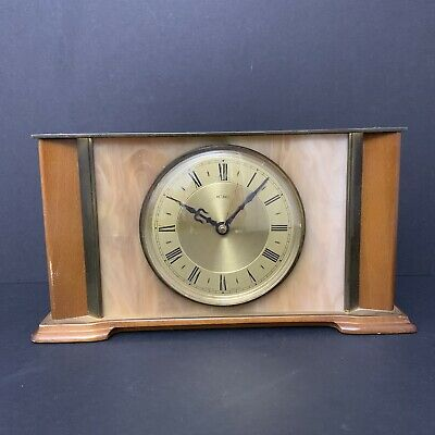 Vintage Wood & Brass Metamec Mantle Clock - 26 x 15cm