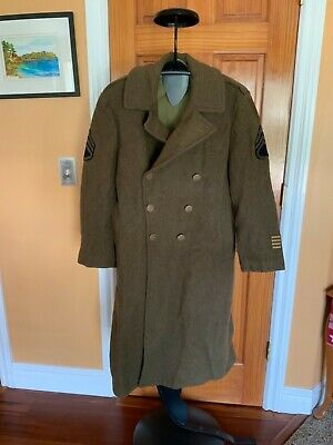 WW11 US Army Wool OverCoat Trench Coat With Patches