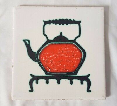 UNUSUAL retro 1960s TILE WITH KETTLE pos anne wynn reeves