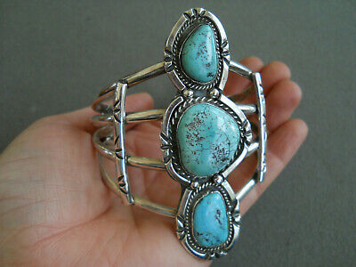 Southwestern Native American Indian Turquoise Sterling Silver Cuff Bracelet