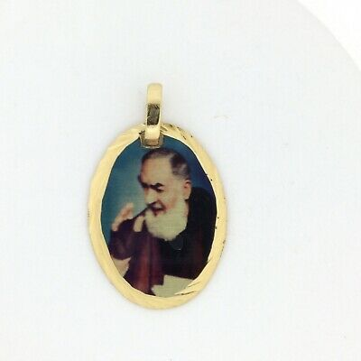 Padre St Pío Pendant 14k Gold Plated Medal 20 Inch Chain, Saint Pio Catholic