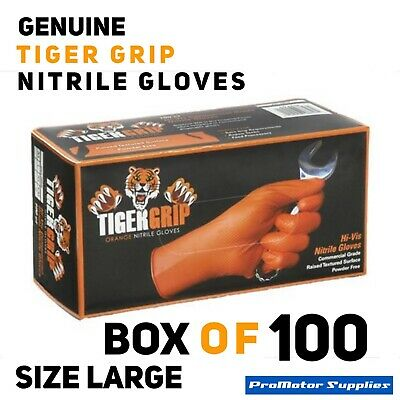100x Large Genuine Tiger Grip Orange Approved commercial Grade Nitrile Gloves