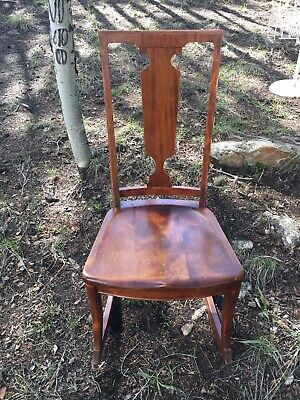 Antique Sewing Rocker Rocking Chair 1920's 30's Americana Oak Wood Nursing Seat