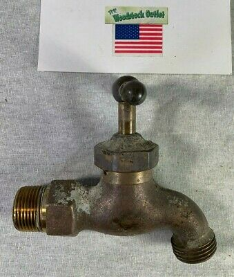 "Old Solid Brass Spigot Classic Shape 3/4"" Threaded Insert Hose Bibb Spicket"