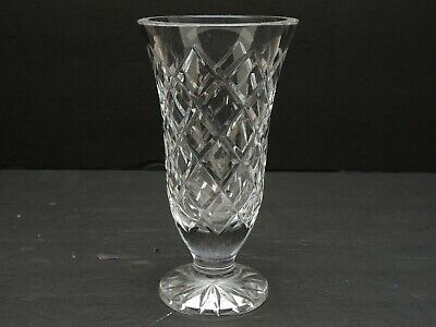 """Signed Waterford Clear Cut Crystal Glass Vase 7"""" Tall Alana-Style Pattern"""