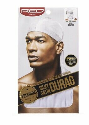 Red By Kiss Silky Satin Durag Premium Quality Perfect Style Comfort White HDUP05