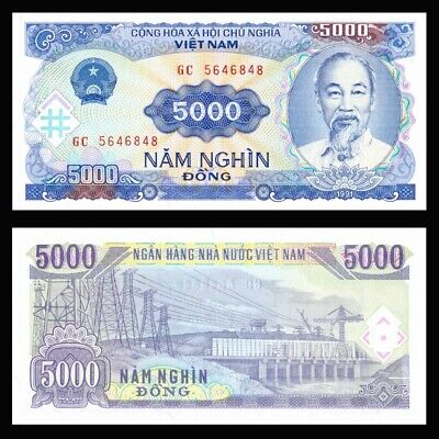 LOT 1000 PCS,Vietnam 5000 DONG paper money,1991 edition,Rare commemorative coin