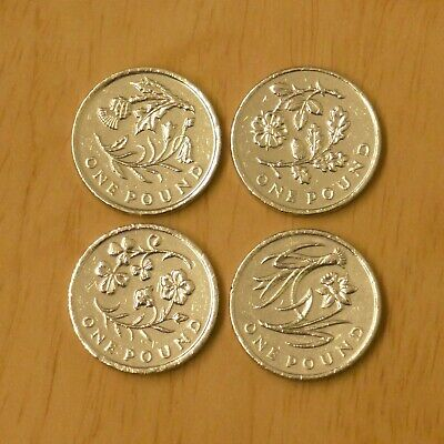 Flower Floral Old One 1 Pound Coins X4 Set *Rare*