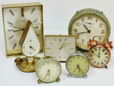 Collection Of Antique Desk Mantel/Carriage Clocks With Alarm, spares or repair