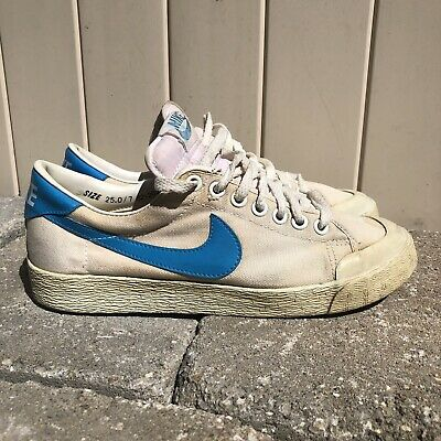 4af867c2 Vintage 80s Nike All Court Canvas Tennis Shoes size 7 Off White Blue VTG  Swoosh