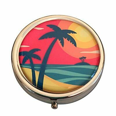 Tropical Paradise Three Section Small Daily Medicine Travel Case Pill Box