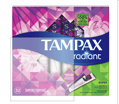 Tampax Radiant Super Absorbency Tampons Unscented 32ct Plastic App Pack of 4