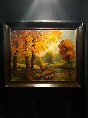 Antique Early 20th Century SIGNED Impressionist Oil Painting Landscape Tree