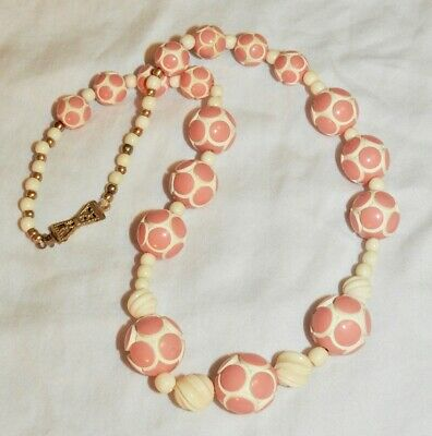 Art Deco Celluloid Necklace of Pink and White Beads Vintage 1930's