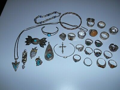 Vtg Lot 30 Pcs Mostly Native American Sterling Silver Jewelry Incl 20 Rings Nice