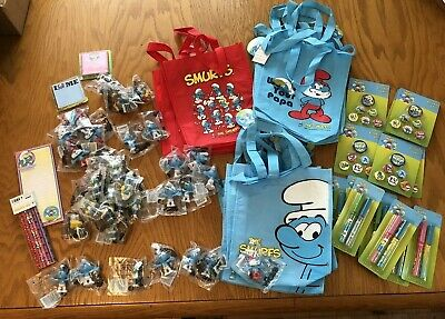 a SET of 4 SMURFS Collectible candy craft filled Mixo Tins brainy smurfette papa