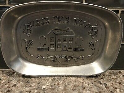 "Vintage Wilton ""Bless This House"" Pewter 9"" x 6.5"" Bread Tray Armetale Engraved"