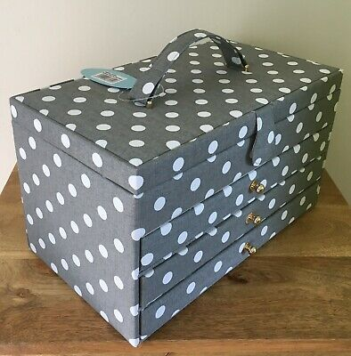 SEWING BOX BASKET Grey Spot with 3 Drawers Extra Large Size FABULOUS DESIGN