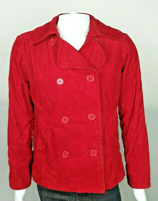 GAP Women's Corduroy Military Style Coat in Dark Red Size XL Fully Lined Winter
