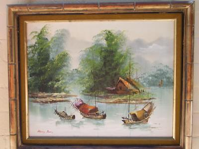 Asian Oil Painting of ''Junk on The Sea '' on Canvas Signed Henry Anin  Framed