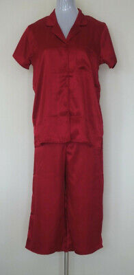 Ladies Size Small (10) Pyjamas Red Satin 3/4 Pant Womens Sleepwear Ebay Sale!