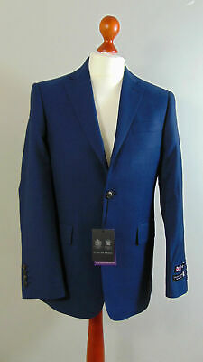 AUSTIN REED Mens Navy Light Wool Birdseye Office Blazer Jacket 40S