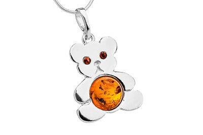BALTIC AMBER STERLING SILVER 925 BEAR PENDANT NECKLACE CHAIN JEWELLERY GIFT BOX