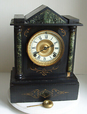 Antique Ansonia mantle clock marble and slate