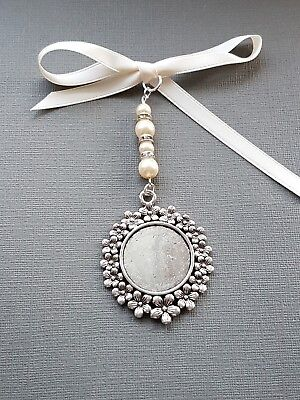 A Wedding Bouquet Photo Frame Charm Round Silver Locket Pendant & ivory pearls