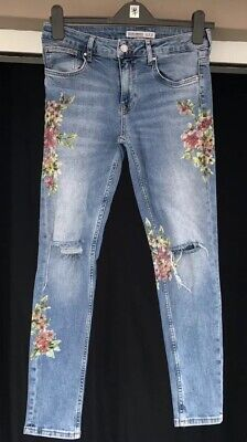 31582e73 Zara Floral Skinny Jeans Size 10 Ripped Knee Blue Distressed Mid Rise  Appliqué