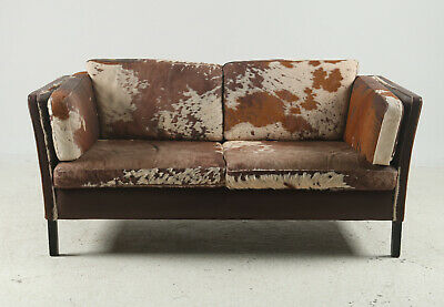 VINTAGE RETRO DANISH MORGAN HANSEN COWHIDE 2 SEATER SOFA 1960,s
