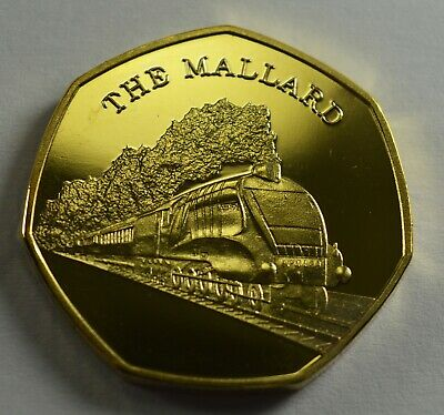 COIN HUNT.SILVER PLATED 50P COIN COLLECTORS ICONIC STEAM ENGINE ALTON HALL