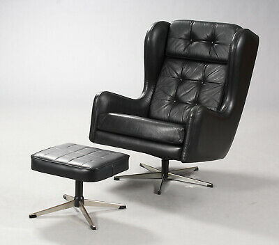 VINTAGE MID CENTURY DANISH LEATHER SWIVEL CHAIR AND FOOTSTOOL 1970,s