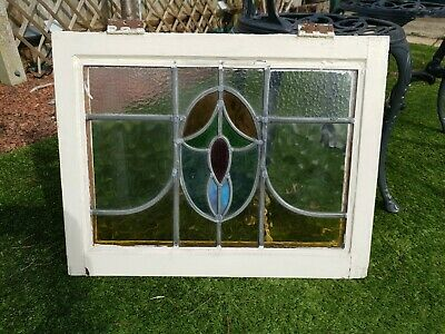 Original 1930s Stained Glass Window Panels 10 , Complete Set In Frames.