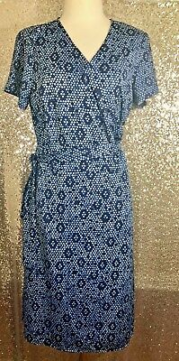 7bac7a1ebb2 Attention Wrap Dress Size Large L Navy Blue Honeycomb Polka Dots Summer