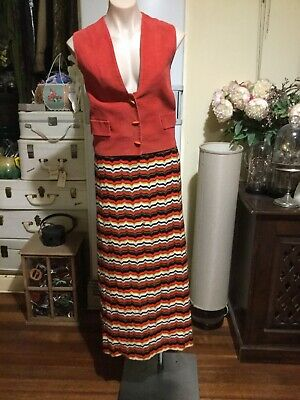 Vintage Maxi Hippie Festival Skirt Woven Fabric Red Yellow Black Brown 10-12