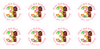 Personalised Round Baby Moana 3rd Birthday Party Stickers Sweet Cones Bags