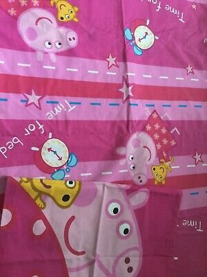 Peppa Pig Single Reversible Duvet Cover And Pillow Bedding VGC Pink Girls