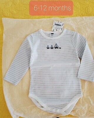 Janie And Jack Boy Sailboat Bodysuit 6-12 Months Long Sleeve Brand New