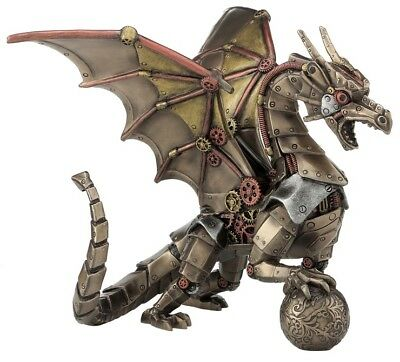 Veronese Bronze Figurine Steam Punk Steampunk Art Dragon holding sphere