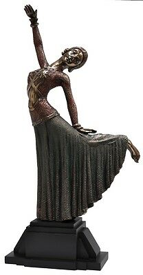 Veronese Bronze Figurine Art Deco Lady Reproduction Large Deco Lady Dancing